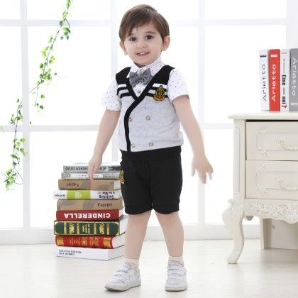 Boys Shirt With Bow And Shorts And Jacket- Multi - Dapper Dudes