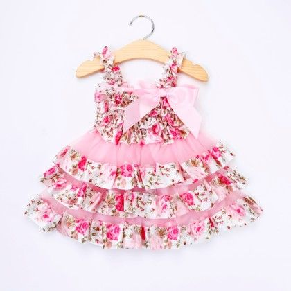 Pink Floral Ruffled Dress - Little Dress Up
