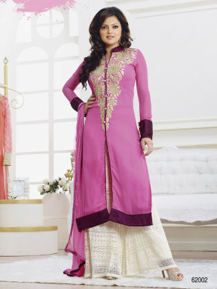 Touch Trends Pink Georgette Dress Material - Touch Trends Ethnic