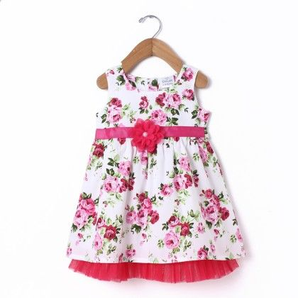 Dress Sleeve Less White All Over Rose Print With Flower & Net - Pink - Doodle