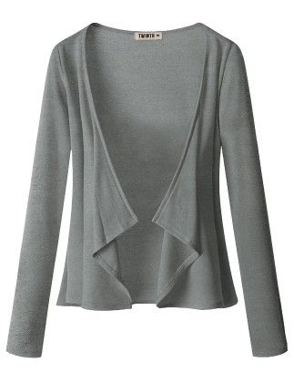 Draping Long Sleeve Jersey Open Cardigan Heather Grey - Doublju