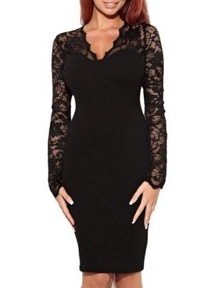 Floral Lace Long Sleeves Bridesmaid Midi Dress-black - Miusol