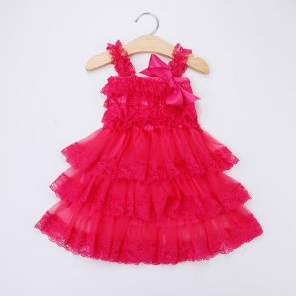 Rose Red Ruffled Sling Dress - Little Dress Up