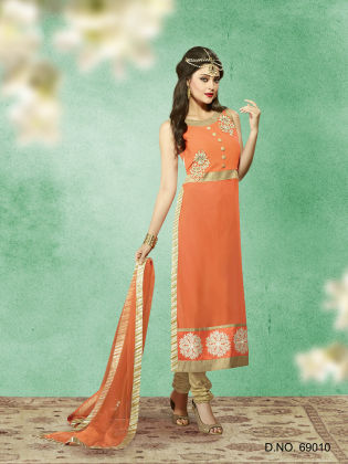 Touch Trends Orange Georgette Dress Material - Touch Trends Ethnic
