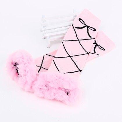 Bow Print Ruffled Lace Legwarmer- Pink - Tootsies