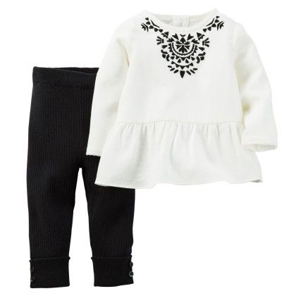 2-piece Sateen Peplum Tunic & Pant Set - Black And White - Carter's