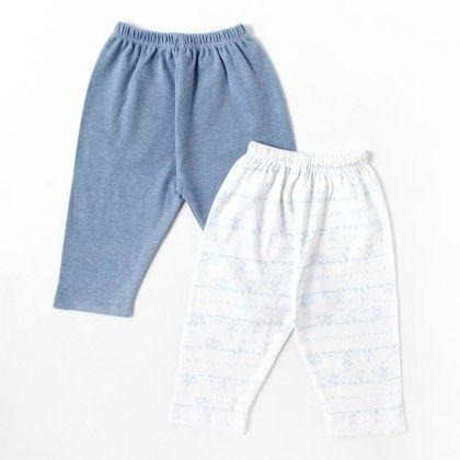Solid Pastel Blue Rabbit Printed Boy Pants - Set Of 2 - BEN BENNY