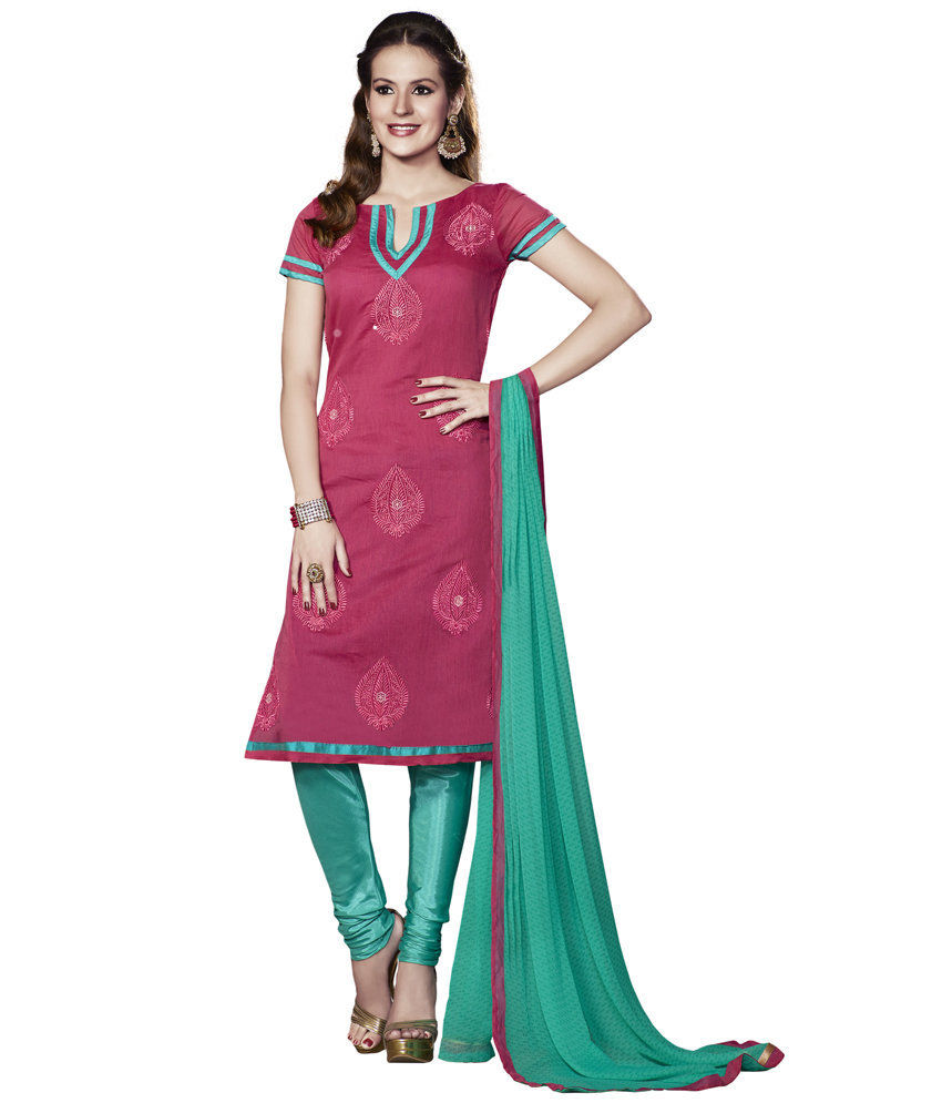 Touch Trends Pink Chanderi Dress Material - Touch Trends Ethnic