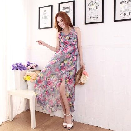 Women's Floral Print Asymmetric Dress- Multi Color - Glaze