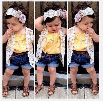 Yellow Floral Print Jacket Style Top And Denim Shorts- Set - Little Fashionista