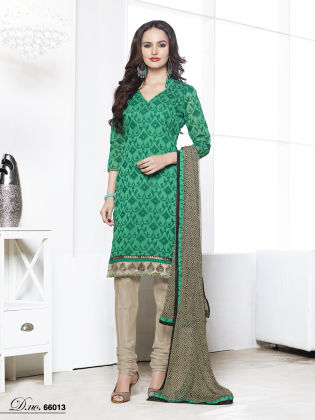 Touch Trends Green Chanderi Jaquard Dress Material - Touch Trends Ethnic