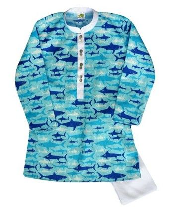 Printed Sharks In Blue And White With White Detail And White Churidar - Little Stars