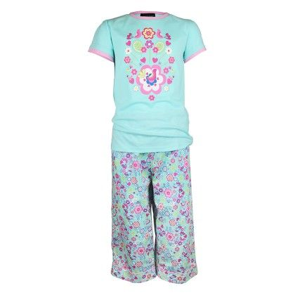 Girls Summer Garden  Print Top  And Pant Set - Candy Pink