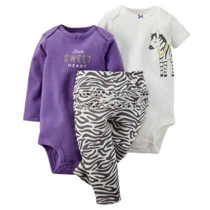 3-piece Bodysuit & Pant Set-purple,white - Carter's