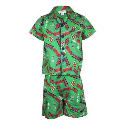 Boys Trains Print Set Of Top And Short Set - Candy Pink