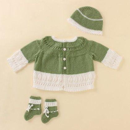 Green And White Cardigan With A Yoke - Knitting Nani