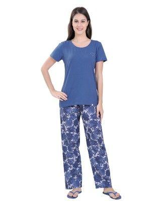 Solid Blue Top With Floral Print Full Pyjama Set - Sheer Love
