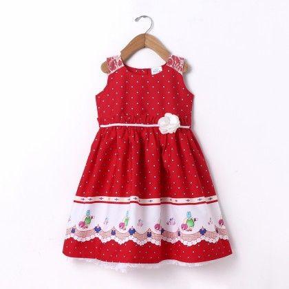 Dress Sleeve Less Border Print Shoulder Lace - Red - Doodle