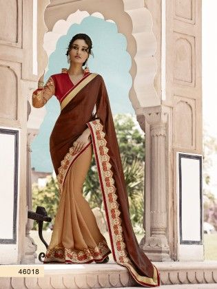 Touch Trends Maroon Satin Saree - Touch Trends Ethnic