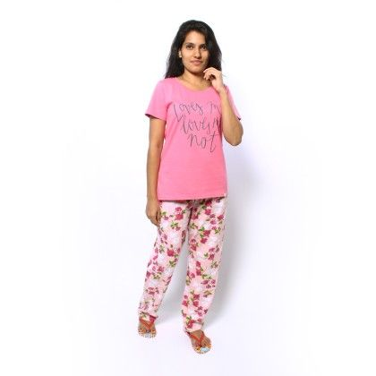 Pink Top With Floral Print Full Pyjama Set - Sheer Love
