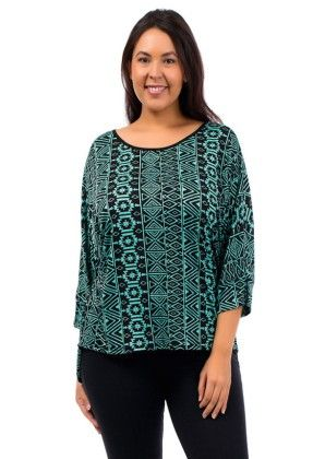 Green Patterned Dolman Plus Size Top - Xcel Couture