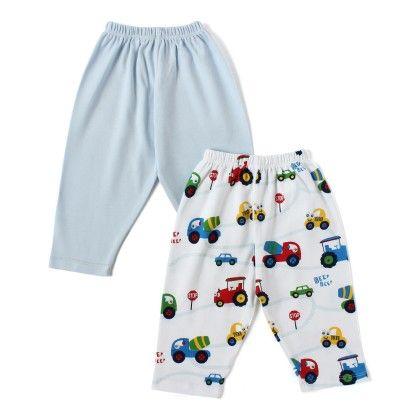 Light Blue & Car Printed Boy Pants - Pack Of 2 - BEN BENNY