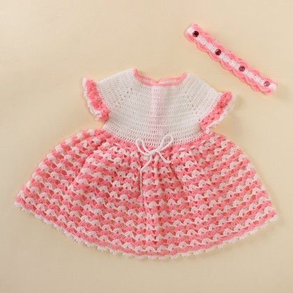 Frilly White And Pink Frock With Hairband - Knitting Nani