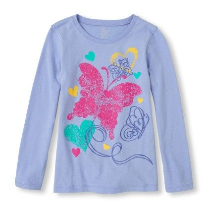 Long Sleeve Butterflies & Hearts Graphic Tee - The Children's Place