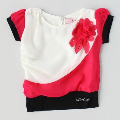 Casual Top With Flower Broach Design Pink - Lei-Chie