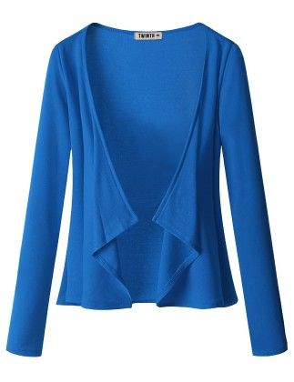 Draping Long Sleeve Jersey Open Cardigan Royal Blue - Doublju