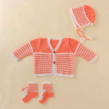 Light Orange And White Set - Knitting Nani