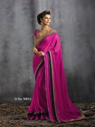 Touch Trends Pink Pure Georgette Saree - Touch Trends Ethnic