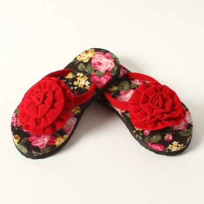 Floral Sole With Floral Pom Pom Slip Ons - Red - Lek Cotton