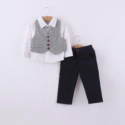 Boys 3 Piece Set Shirt With Bow-trouser-jacket- Grey - Dapper Dudes