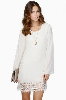 Casual Lace Long Sleeve Chiffon Shift Perty Dress White - Lingswallow