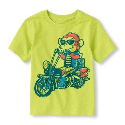 Short Sleeve Biker Monkey Graphic Tee - The Children's Place