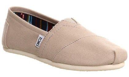 Classic Light Grey White Womens Canvas Espadrille Shoes Slipons - Toms