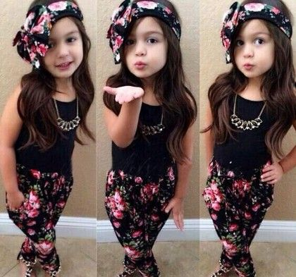 Black Top And Black Floral Print Trousers And Headwear- Set - Little Fashionista
