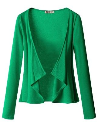 Draping Long Sleeve Jersey Open Cardigan Kelly Green - Doublju