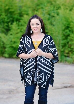 Geometric Waves Black Cardigan - Xcel Couture