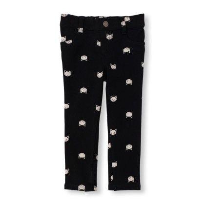 Cat Print Knit Knit Jeggings - Black - The Children's Place