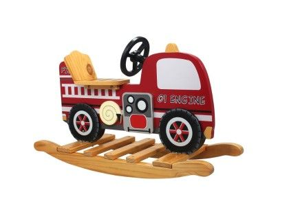 Fire Engine Truck Wooden Rocker - Teamson Kids