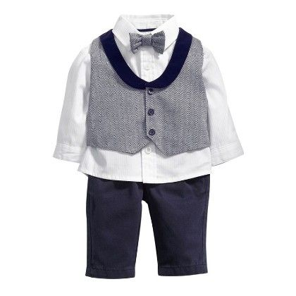 Boys 3 Piece Set- Shirt With Bow-trouser And Jacket With Collar- Grey - Dapper Dudes