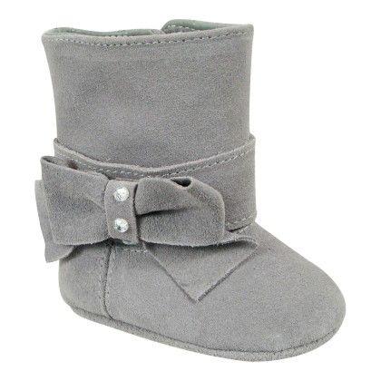 Gray Suede Dress Boot - Bow & Rhinestones - Baby Deer