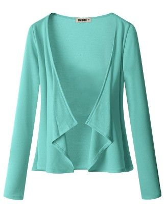 Draping Long Sleeve Jersey Open Cardigan Sky Blue - Doublju