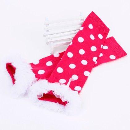 Polka Dot Print Ruffled Lace Legwarmer- Rose Red And White - Tootsies
