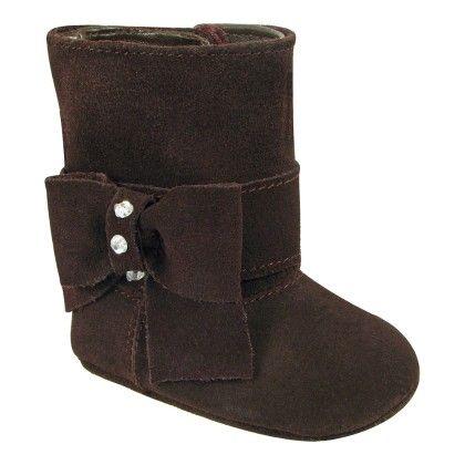 Brown Suede Dress Boot - Bow & Rhinestones - Baby Deer