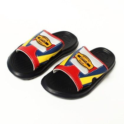 Three Colour Stripe Slip On-black - Red Apple