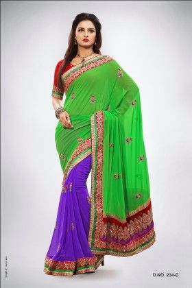 Touch Trends Green Pure Georgette Saree - Touch Trends Ethnic