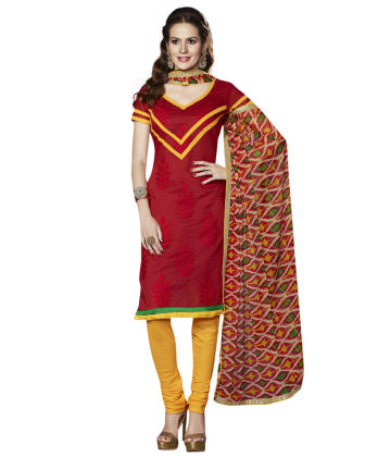 Touch Trends Red Chanderi Dress Material - Touch Trends Ethnic